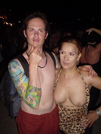 Crazy people during a beach party in Thailand