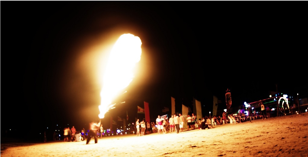 Full moon beach party fire works in Thailand