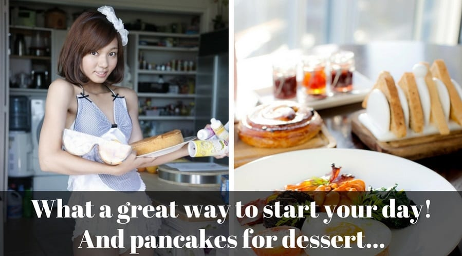 Beautiful and sexy filipina cooking breakfast and dessert