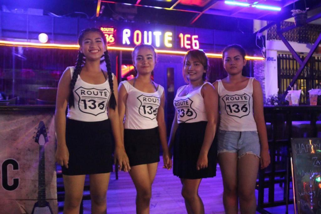 Cambodian bar girls outside bar in Phnom Penh