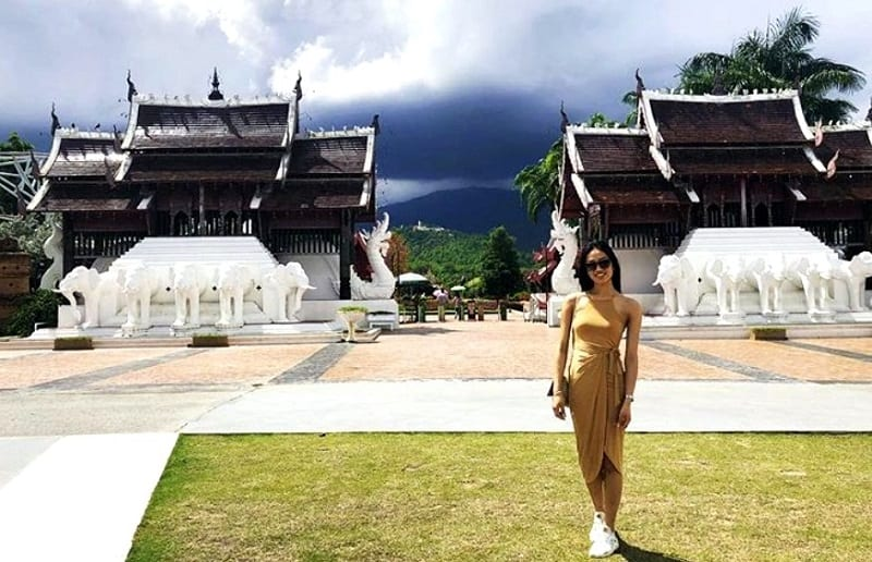 temple in chiang mai with thai girl