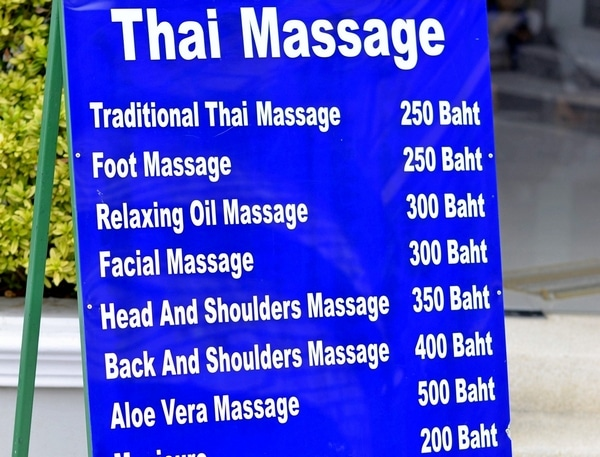 Thai massage prices menu