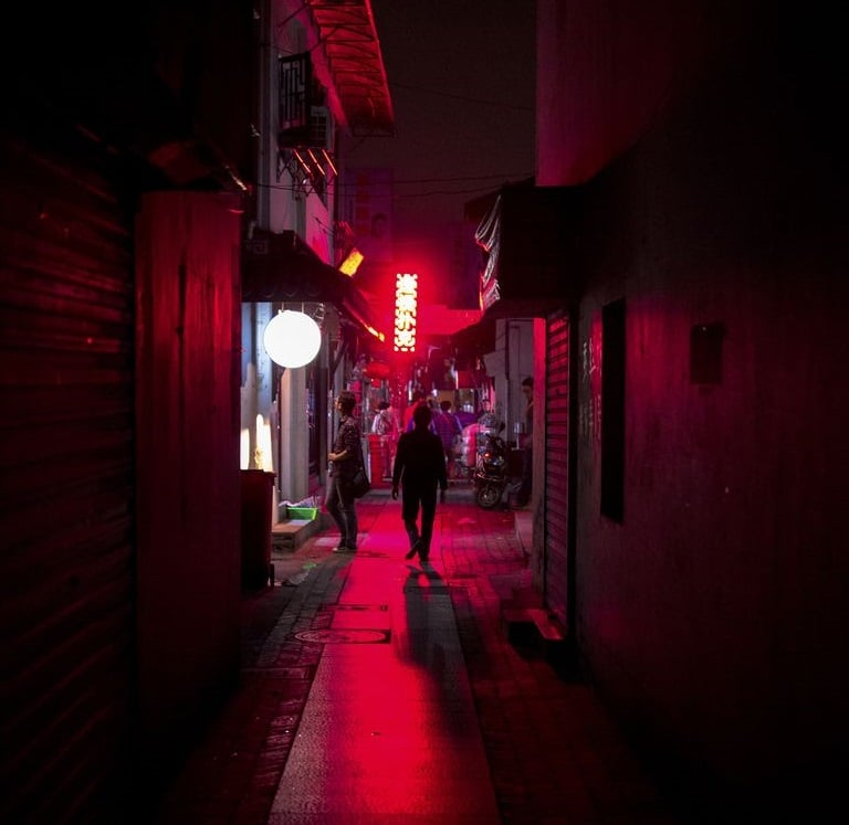 Shanghai red light district at night