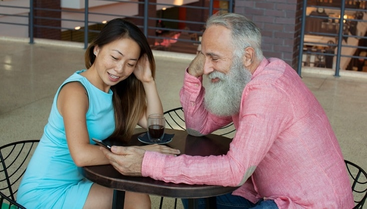 Thai woman with older foreign man